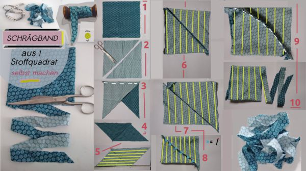 Schrägband selber machen Quadrat Anleitung