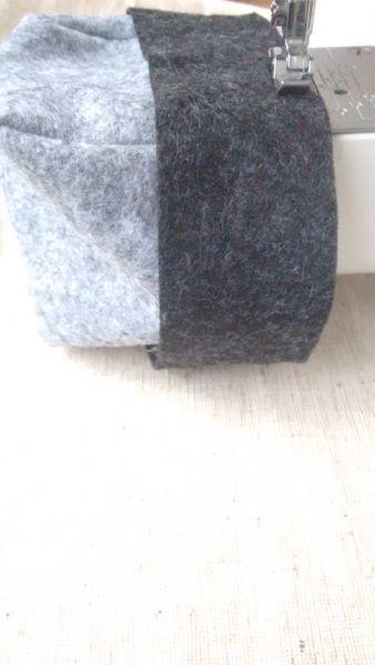 Filzband annähen Stoffkorb grau