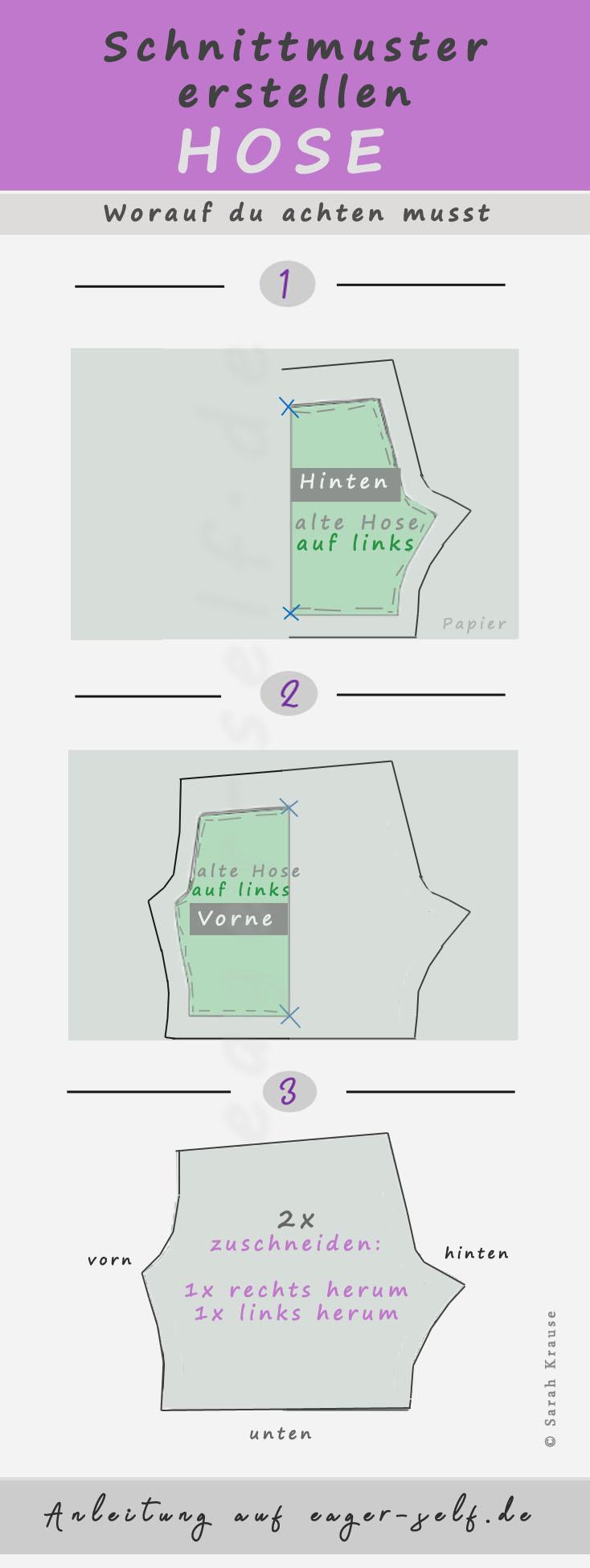 Hose nähen: Teil 1 - Schnittmuster erstellen Hose • eager self