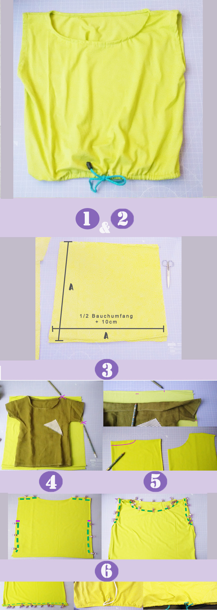 Shirt nähen aus einem Quadrat