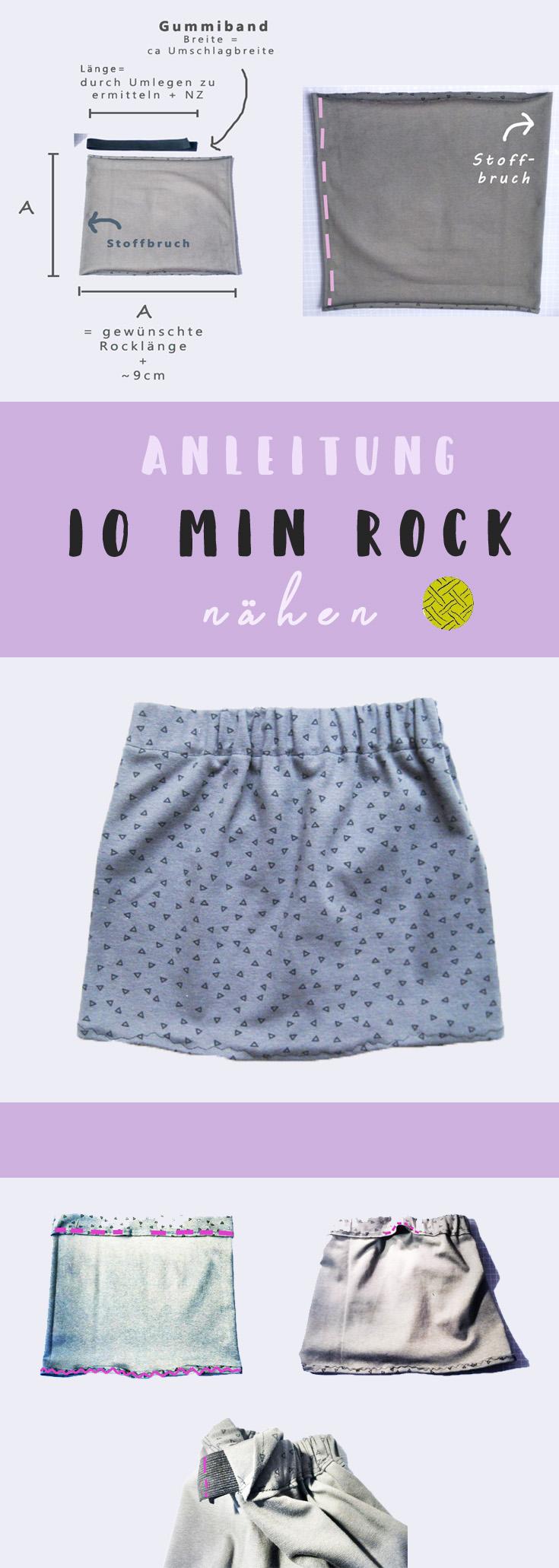 10 Minuten Rock aus einem Quadrat nähen - Super einfache Anleitung ...
